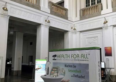 Foyer Regentenbau HEALTH FOR ALL® Stand Wirtschaftsforum Bad Kissingen