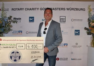 HEALTH FOR ALL®-Spendenscheck Charity Golfmasters Würzburg 2019