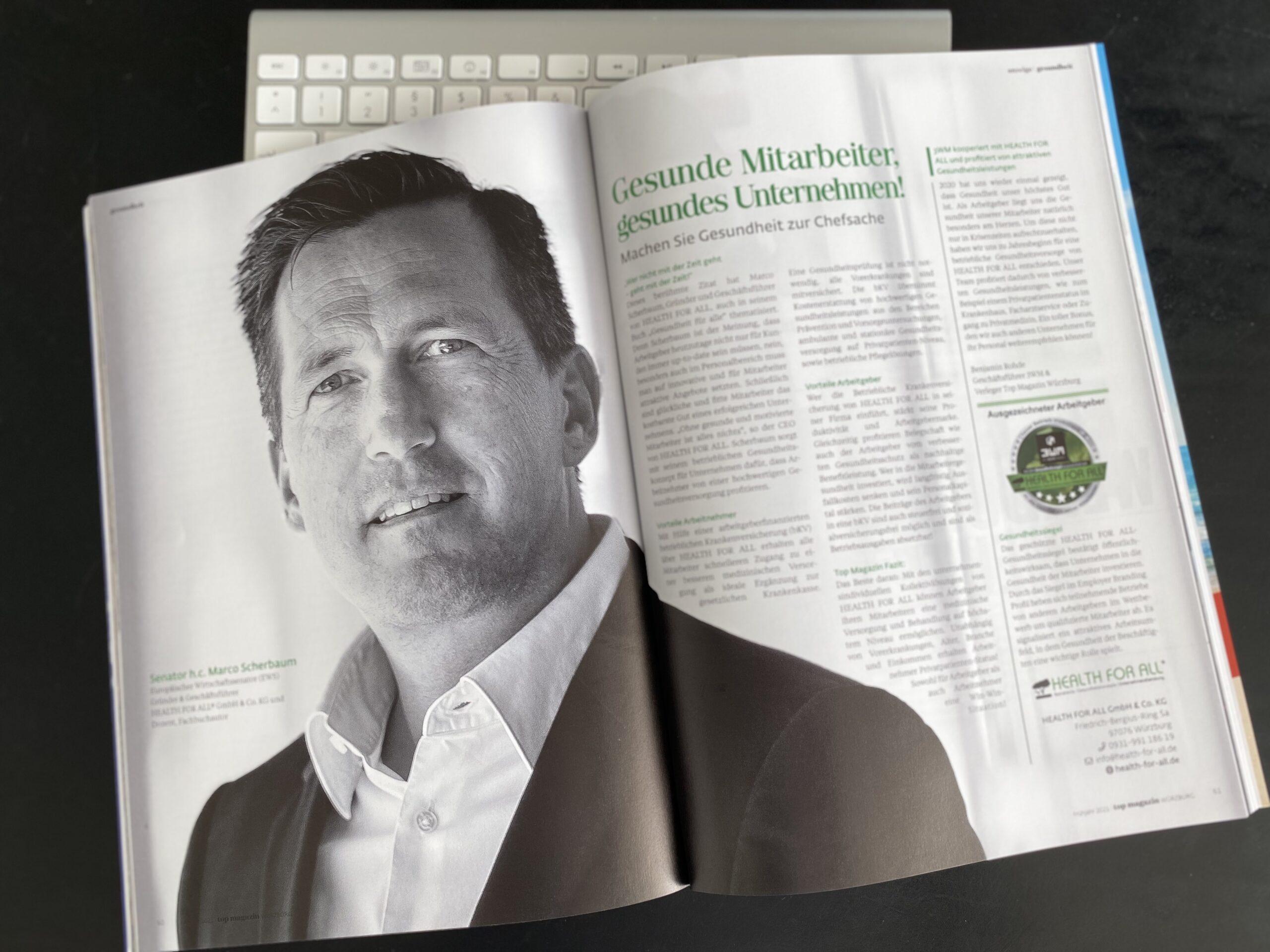 Top Magazin Seite 60/61 HEALTH FOR ALL betriebliche Krankenversicherung bKV Senator h.c. Marco Scherbaum