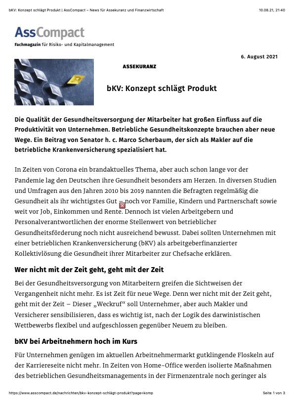 bKV Fachbeitrag von Senator h.c. Marco Scherbaum HEALTH FOR ALL - Konzept schlägt Produkt   AssCompact – News für Assekuranz und Finanzwirtschaft