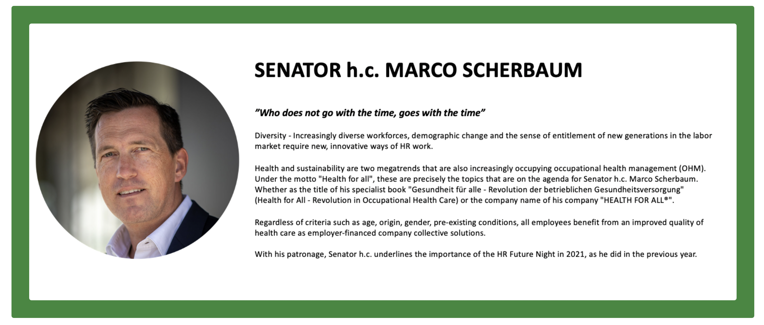 """HR Future Night 2021 """"How Diversity and Inclusion will save our asses"""" Schirmherr Senator h.c. Marco Scherbaum HEALTH FOR ALL"""