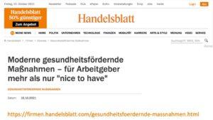 Handelsblatt Veröffentlichung vom 16.09.2021: Artikel mit Gesundheitsexperte Marco Scherbaum HEALTH FOR ALL
